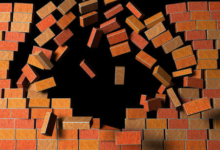 symbols metaphors: 3d Render Illustration of Brick Wall,  Explodes on Black Background Stock Photo