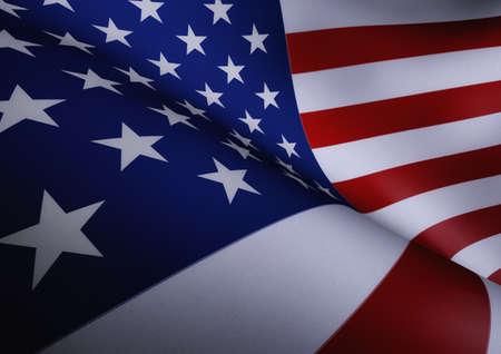 American Flag Waving Close Up Illustration Stock Photo