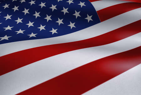 july: American Flag Waving Close Up Illustration Stock Photo
