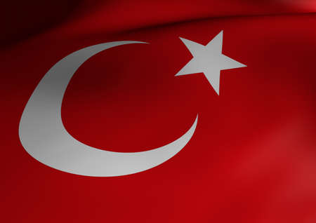 Turkish Flag Waving 3d Illustration Close up Stock Photo