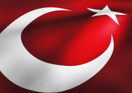 turkish flag: Turkish Flag Waving 3d Illustration Close up Stock Photo