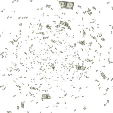 flying money: American Dollars Flying on white background - 3d Render, Illustration