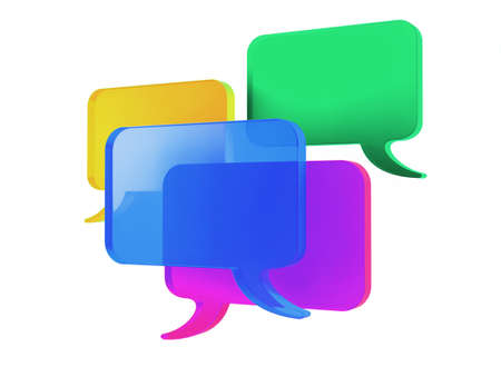 3d Multiple Various Colored Speech Bubbles Illustration, isolated on white background.