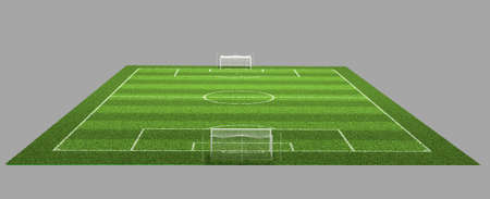 grass area: 3d Illustration of Detailed Soccer Field on isolated grey background. Stock Photo