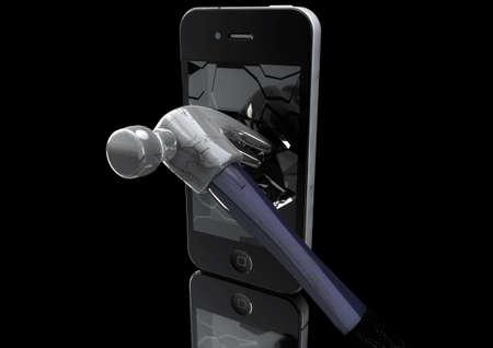 Hammer destroys Mobile Phone 3D Illustration on black background. Stock Photo