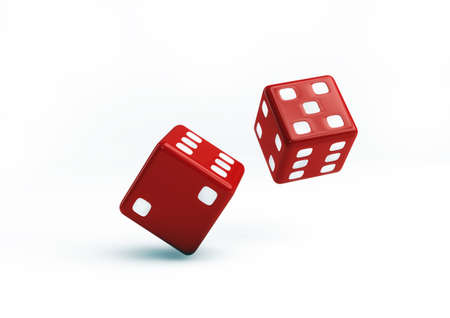 Red Dice 3D Illustration on white background illustration