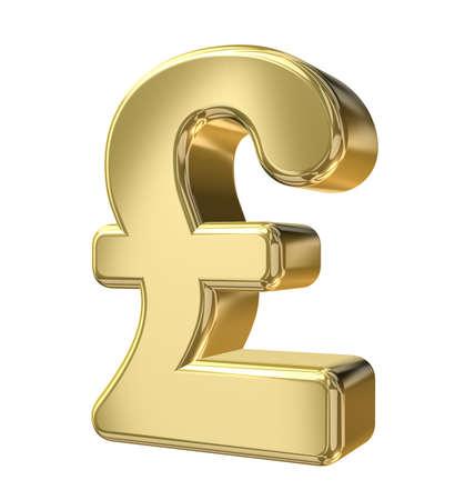 libra esterlina: Pound Sterling-Sign sobre fondo blanco aislado Foto de archivo