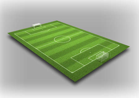 3d Illustration of Detailed Soccer Field on isolated grey background  Stock Photo