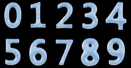 Detailed Blue Frozen Ice Typography Numbers 0-9 isolated on black background photo