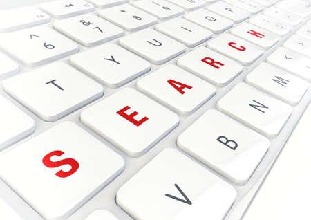 Search word written on modern shiny white keyboard, internet concept