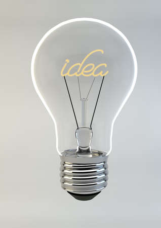 Bulb writing the word Idea inside, creative concept image on white-gray background