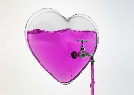 End of Love Concept 3d Illustration, A Glass Heart and love juice inside flowing from tap isolated on white background