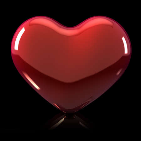 3d Shiny Heart Illustration on Black Background with reflection