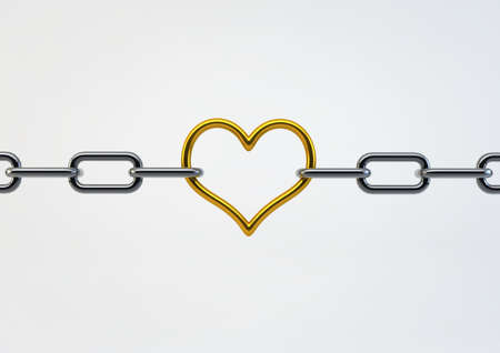 Valentine Heart Shaped Metal between chains holding links together, illustration isolated on white background illustration