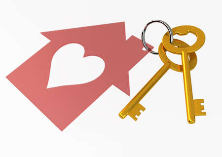 Golden House Keys with Red Heart Shape House Icon Illustration isolated on white background illustration