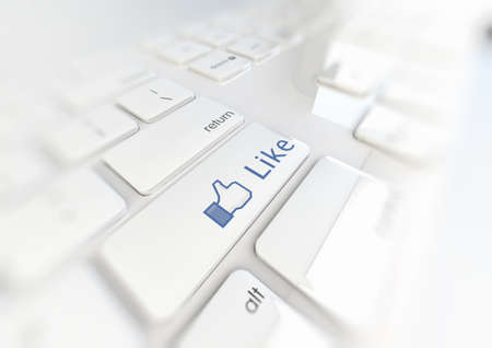 Like Button on a white keyboard 3d Illustration Stock Illustration - 17371645