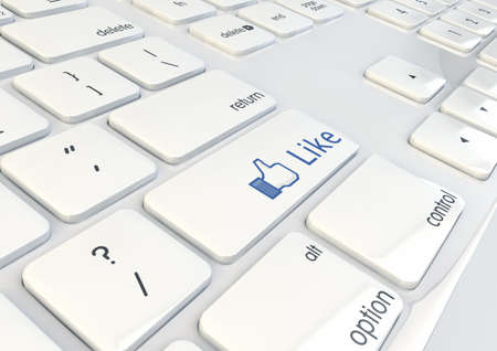 Like Button on a white keyboard 3d Illustration Stock Photo