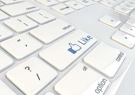 Like Button on a white keyboard 3d Illustration Stock Illustration - 17371658