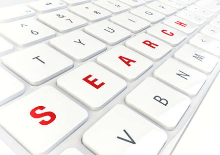 searchengine: Search word written on modern shiny white keyboard, internet concept.