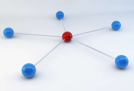 3D Blue Chrome Molecular Spheres Linked to a Red Sphere on white background Stock Photo - 17371651
