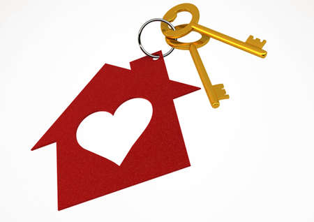 Golden House Keys with Red Heart Shape House Icon Illustration isolated on white background Stock Photo