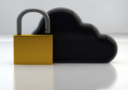 Cloud Technology Safety Concept with Cloud Sign and Golden Padlock Stock Photo - 17771090