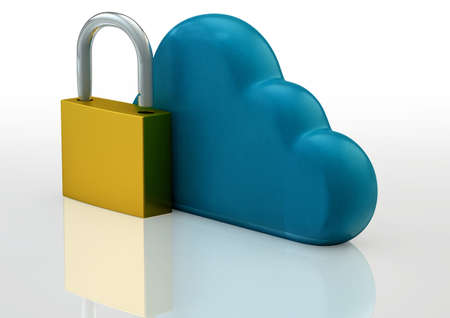 Cloud Technology Safety Concept with Cloud Sign and Padlock Stock Photo - 17771092