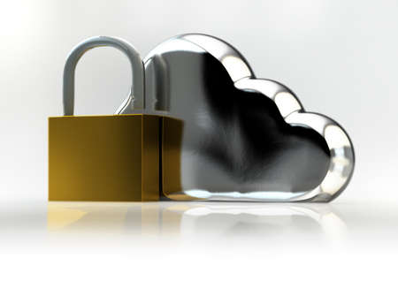 Cloud Technology Safety Concept with Cloud Sign and Padlock photo