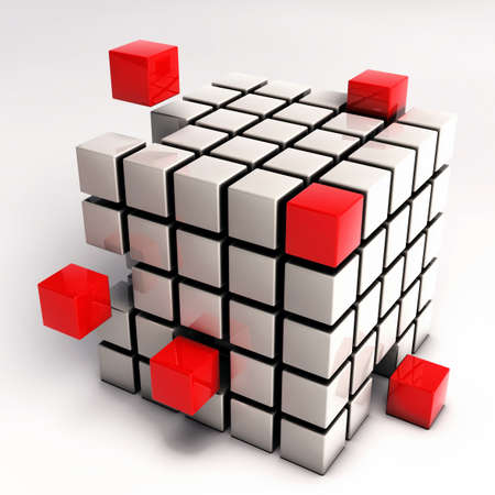 Abstract Cube Illustration - Red Cubes Separating from Single Cube Mesh isolated on white background Stock Photo