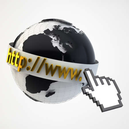 Internet Concept Illustration - Globe Coverered by Domain Bar Label with pointing hand arrow icon Stock Illustration - 17771087