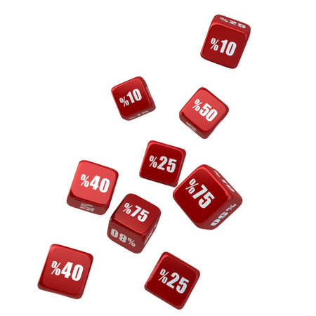 Discount -Sale Dice Falling Down, isolated on white background Stock Photo