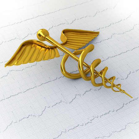 hermes: Golden Caduceus on Ecg - Ekg Paper - Medical Concept Illustration