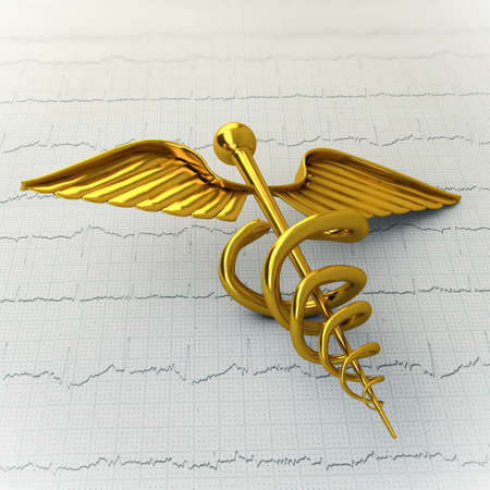Golden Caduceus on Ecg - Ekg Paper - Medical Concept Illustration