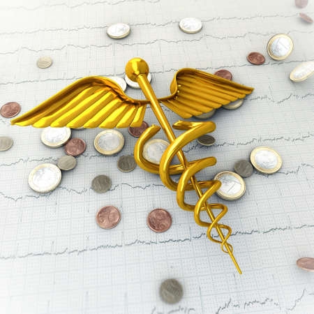 spending money: Golden Caduceus on Ecg - Ekg Paper with Coins - Spending Money on Health Concept Illustration
