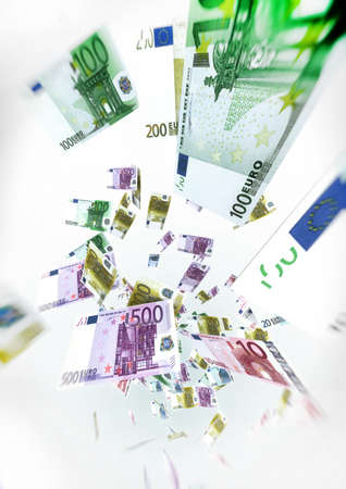 cash flow: Euro Bills Fly on air - Money Concept Illustration on white background Stock Photo