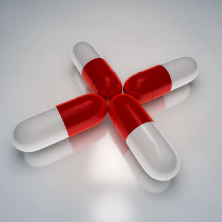 Pills located as cross shape on white background, medical-health concept illustration