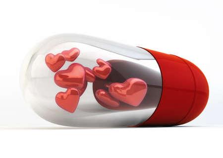 Red Love Pills inside capsule 3d Illustration isolated on white background