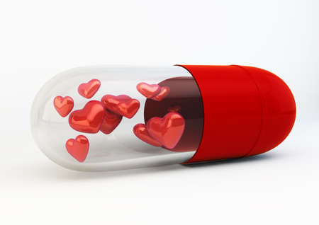 Red Love Pills inside capsule 3d Illustration isolated on white background