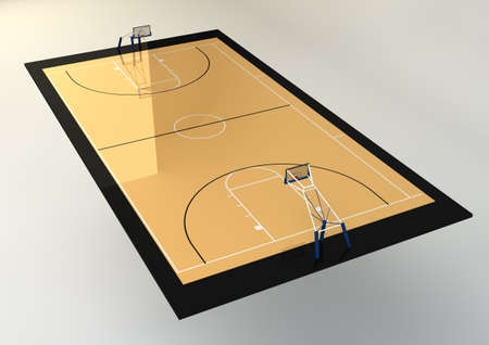 3d Realistic Illustration of Basketball Court isolated on grey background