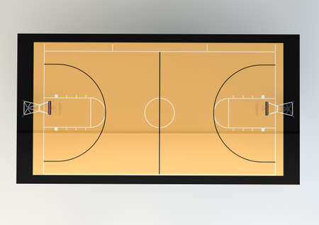hard court: 3d Realistic Illustration of Basketball Court - Top View