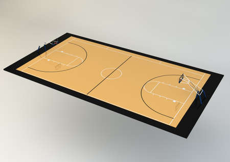 3d Realistic Illustration of Basketball Court - Perspective View, isolated on grey background