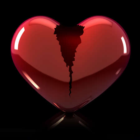 3d Illustration of broken heart on black background
