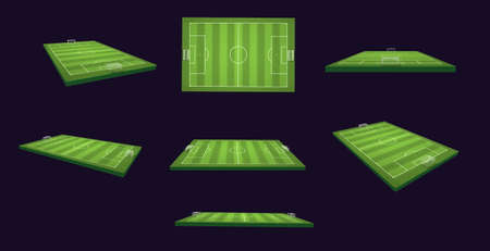 Soccer Field 3d Illustration Set on different views and angles, isolated  alpha channel  Stock Photo