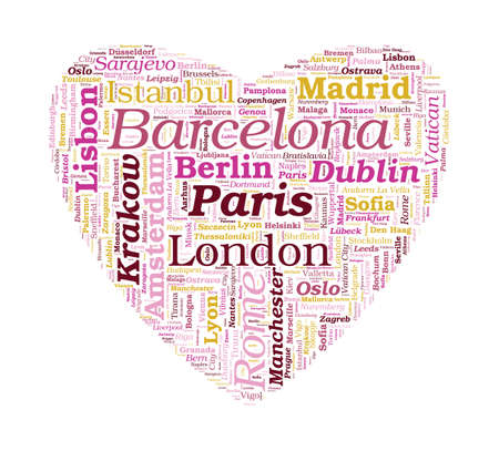 Love Shaped European Cities Word Cloud on white background photo