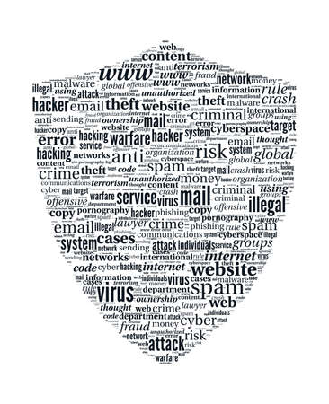 Hacker Shield Word Cloud - Internet Security Concept on white background