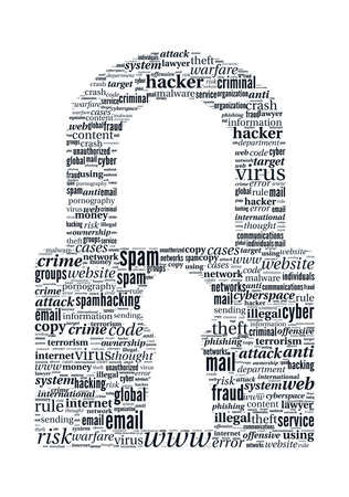 unauthorized: Hacker Concept - Locker Shaped Typographic Word Cloud Stock Photo
