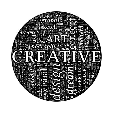 spherized: Creative Design Concept - Black and White Word Cloud in Circle  Stock Photo
