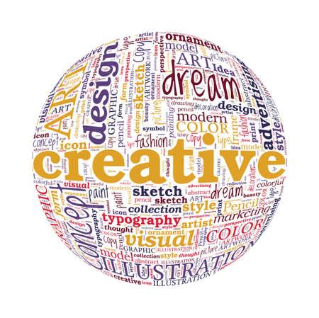 spherized: Creative Design Concept Spherized Typographic Word Cloud Stock Photo