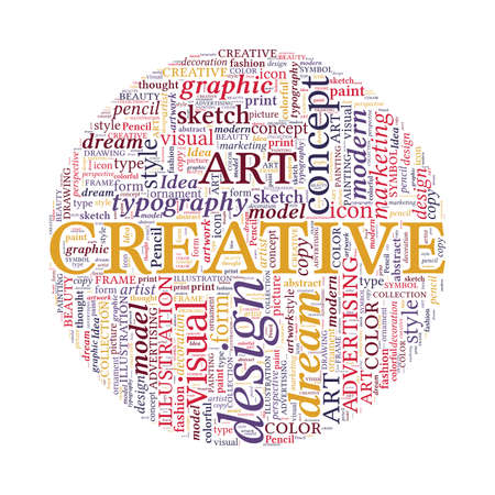 spherized: Creative Design Concept - Colorful Word Cloud in Circle Stock Photo