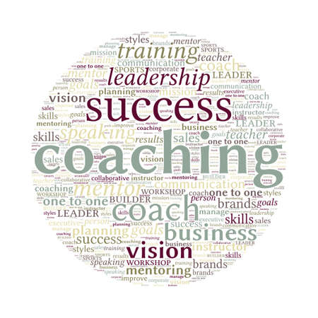 Coaching Concept Word Cloud on white background Stock Photo